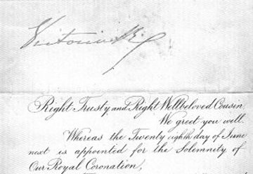 B11. 1838 Summons to Queen Victoria's Coronation